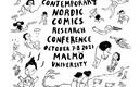 Serietecknad bild med människor, djur samt logotyper för bl.a Malmö universitet
