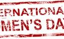 Text i stämpelform med orden international women's day