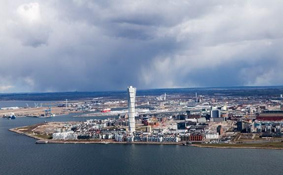Vy över Malmö stad med Turnin...