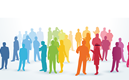 Siluetter av människor i olika färger står i en folksamling